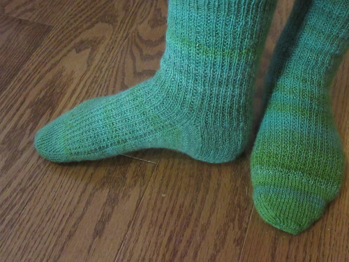 New handknit handspun Cheviot wool socks in Strie pattern by irieknit